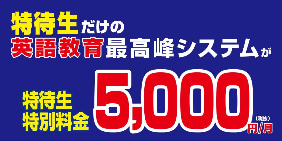 特待性だけの英語教育最高峰システムが5,000円/月